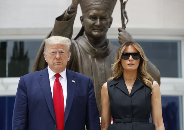 President Donald Trump and first lady Melania Trump visit Saint John Paul II National Shrine, Tuesday, June 2, 2020, in Washington