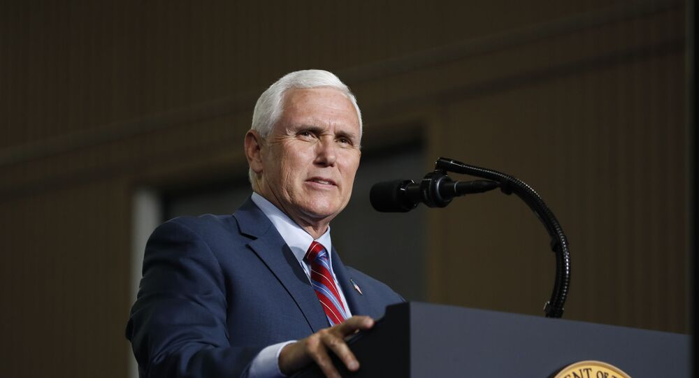 Vice President Mike Pence speaks at the Vehicle Assembly Building on Saturday, May 23, 2020, at NASA's Kennedy Space Center in Cape Canaveral, Fla. A rocket ship designed and built by SpaceX lifted off on Saturday with two Americans on a history-making flight to the International Space Station.