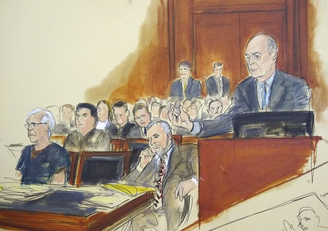In this courtroom artist's sketch, defendant Jeffrey Epstein, left, and attorney Reid Weingarten, second from right, listen as attorney Martin Weinberg, right, speaks during a bail hearing in federal court, Monday, July 15, 2019 in New York