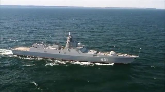 Trials of Admiral Kasatonov frigate in Barents sea