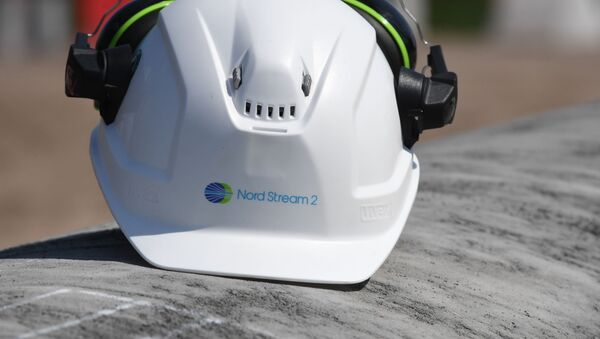 Helmet of a worker on the construction site of the Nord Stream-2 gas pipeline - Sputnik International