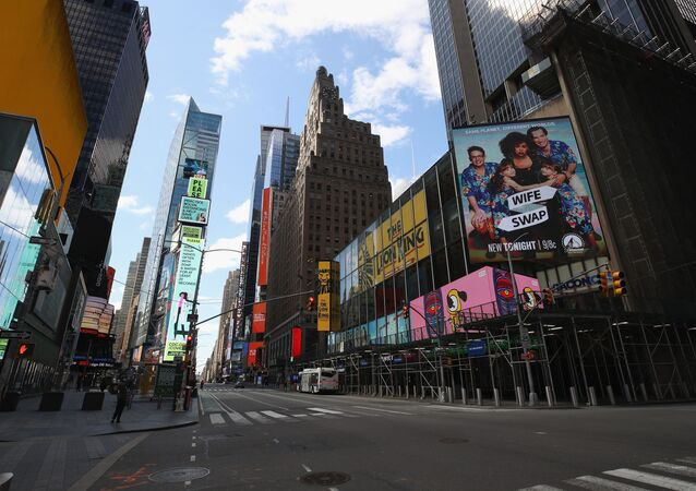 A general view of an empty Seventh Avenue at Times Square in the early afternoon on April 02, 2020 in New York City