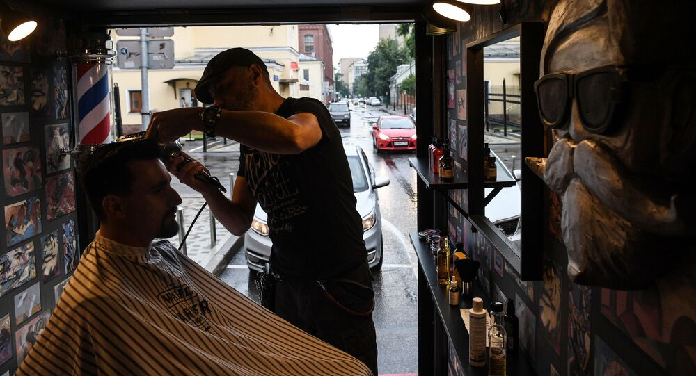 Boy Cut Barber Truck mobile barbershop in Moscow