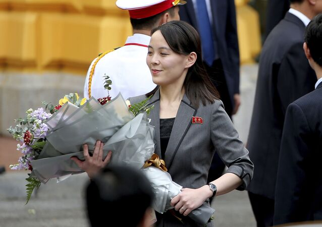 North Korean leader Kim Jong-un's sister Kim Yo Jong holds a bouquet of flowers during a welcoming ceremony at the Presidential Palace, Friday, March 1, 2019, in Hanoi, Vietnam