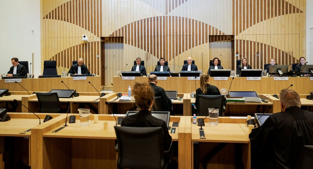 General view of courtroom of The Schiphol Judicial Complex, prior to the criminal trial against four suspects in the July 2014 downing of Malaysia Airlines flight MH17, in Badhoevedorp, Netherlands, June 8, 2020