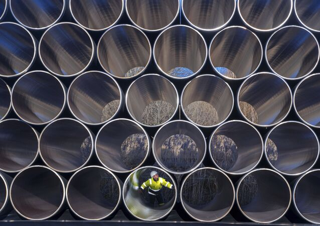 FILE - In this Dec. 6, 2016 file photo tubes are stored in Sassnitz, Germany, to construct the natural gas pipeline Nord Stream 2 from Russia to Germany