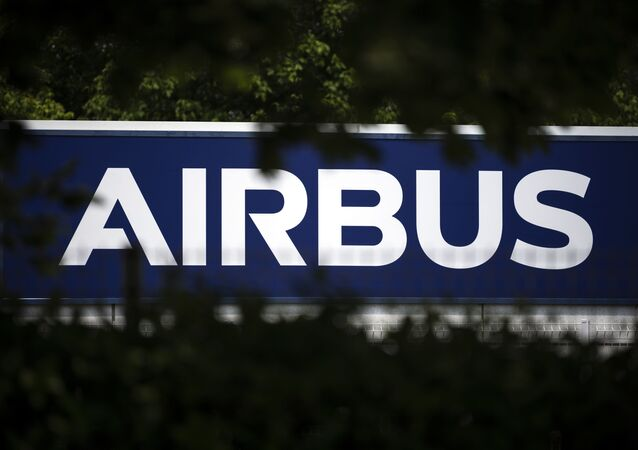 The European aircraft manufacturer Airbus' logo is pictured on May 13, 2020 in Toulouse, southern France