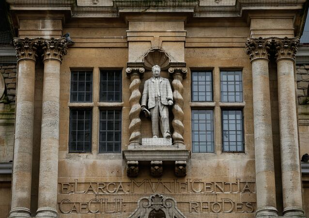 A statue of British businessman Cecil Rhodes is seen on the facade of Oriel College in Oxford, on February 5, 2016