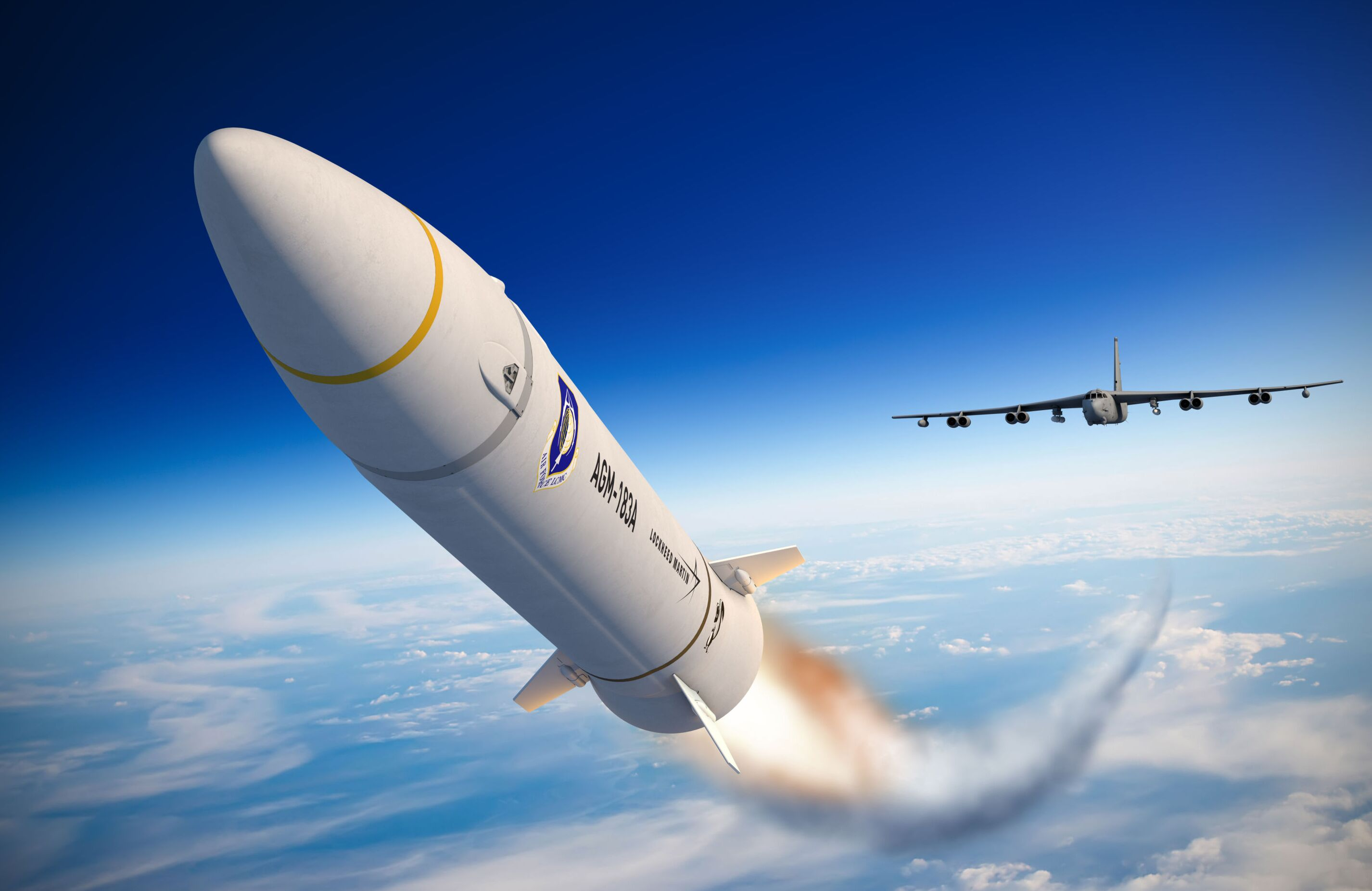 An artist concept of the AGM-183A Air-launched Rapid Response Weapon (ARRW) shows the hypersonic missile after launching from a B-52 bomber, encapsulated in a rocket that accelerates it to hypersonic speed. Lockheed Martin artist rendering.