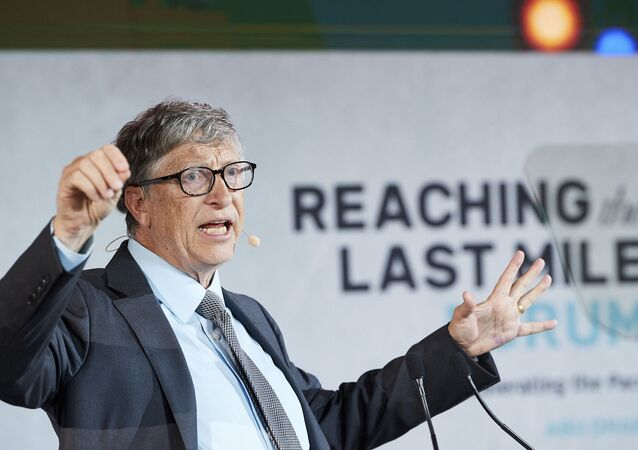 Microsoft founder and Co- chair of the Bill and Melinda Gates Foundation, Bill Gates is pictured at the Reaching The Last Mile forum on Nov. 19, 2019, at the Louvre in Abu Dhabi