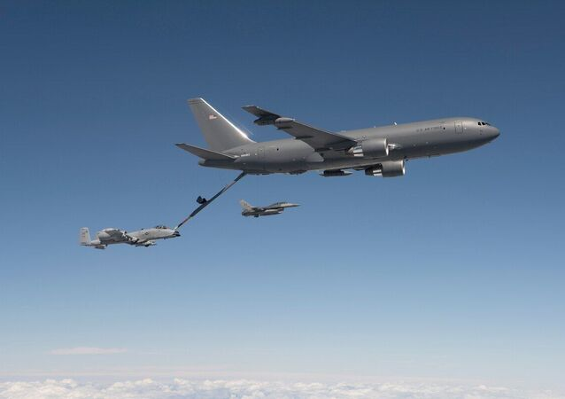 A KC-46 tanker refuels an A-10 aircraft during testing