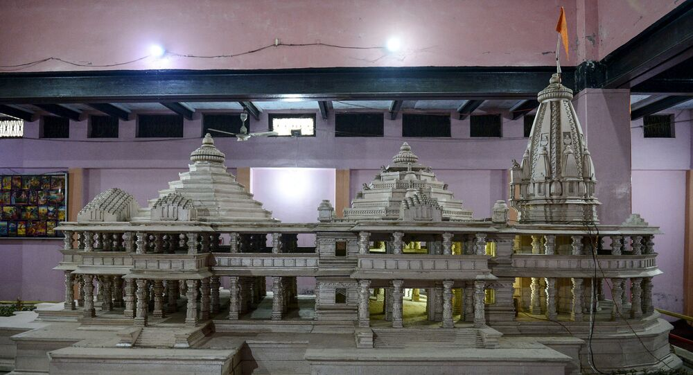 A model of a proposed Ram Hindu temple is displayed at Karsevakpuram campus in Ayodhya on November 12, 2019