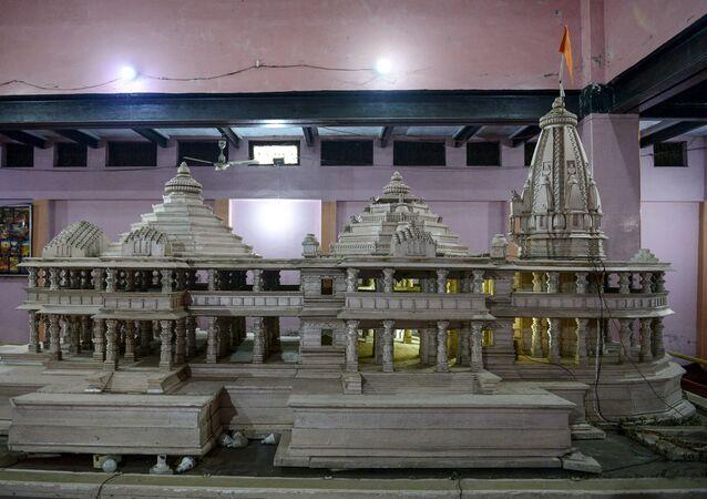 A model of a proposed Ram Hindu temple is displayed at Karsevakpuram campus in Ayodhya on November 12, 2019