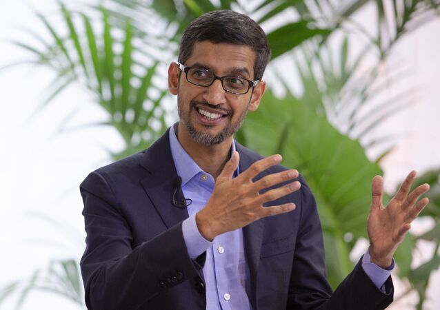 Google's chief executive Sundar Pichai addresses the audience during an event on artificial intelligence at the Square in Brussels, Monday, Jan. 20, 2020