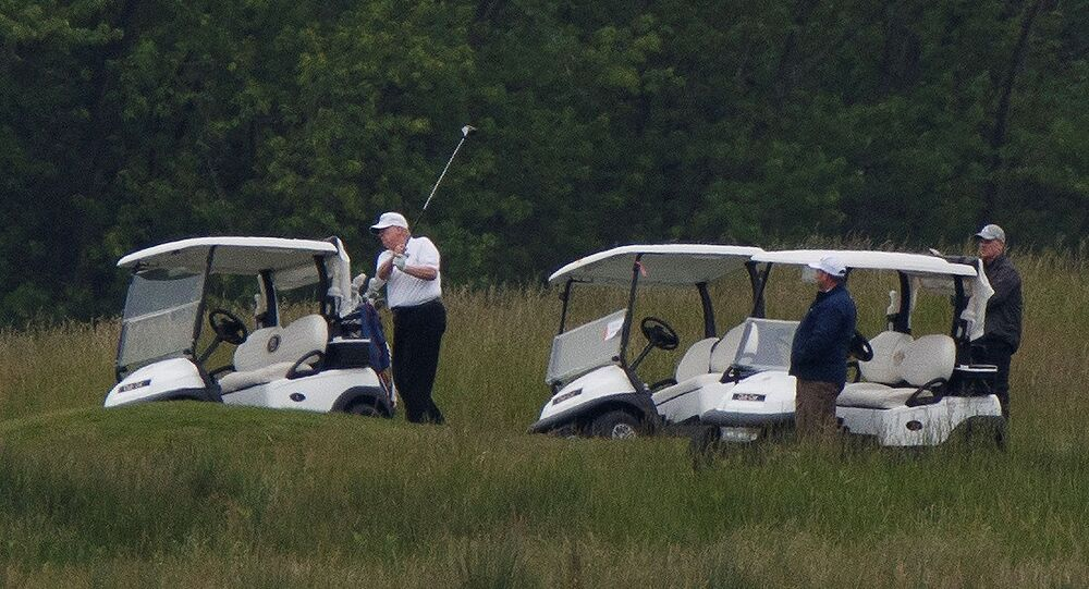 At left, U.S. President Donald Trump participates in a round of golf at the Trump National Golf Course amid the coronavirus disease (COVID-19) outbreak, in Sterling, Virginia, U.S., May 24, 2020