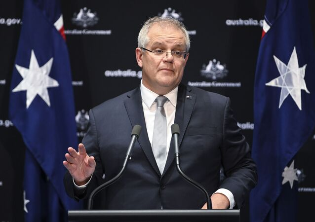 Australian Prime Minister Scott Morrison speaks to the media during a press conference at Parliament House in Canberra, 1 May 2020