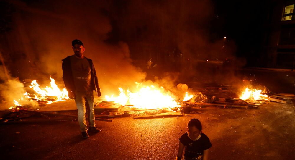 Burning fire during a protest in Beirut