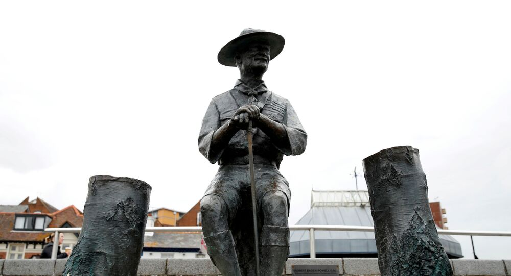 A statue of Robert Baden-Powell is seen in Poole, the statue is due to be removed following protests against the death of George Floyd who died in police custody in Minneapolis, Poole, Britain, June 10, 2020. Picture taken June 10, 2020.
