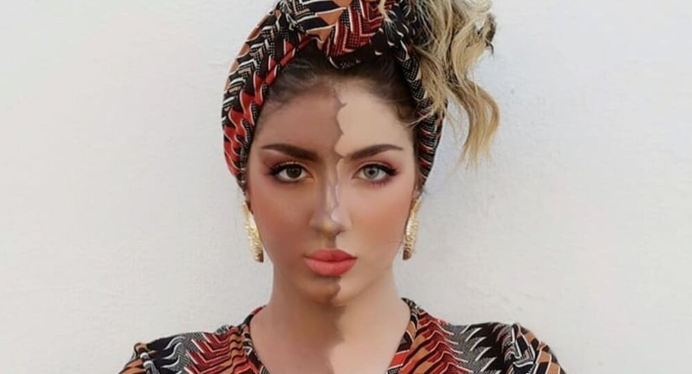 Algerian singer Souhila Ben Lachhab has posted a photo of her body and face half-covered with brown paint to show solidarity with the Black Lives Matter campaign.