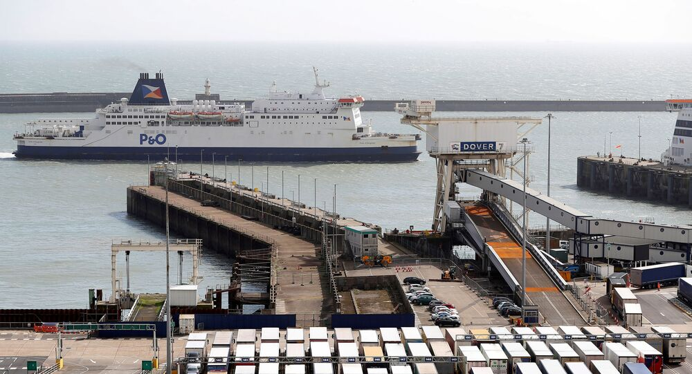 Freight traffic awaits departure from the Port of Dover in Britain, March 17, 2020.