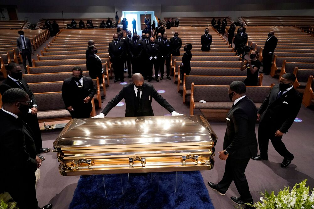 The casket of George Floyd is placed in the chapel during a funeral service for Floyd at the Fountain of Praise church, in Houston, Texas, U.S., June 9, 2020.