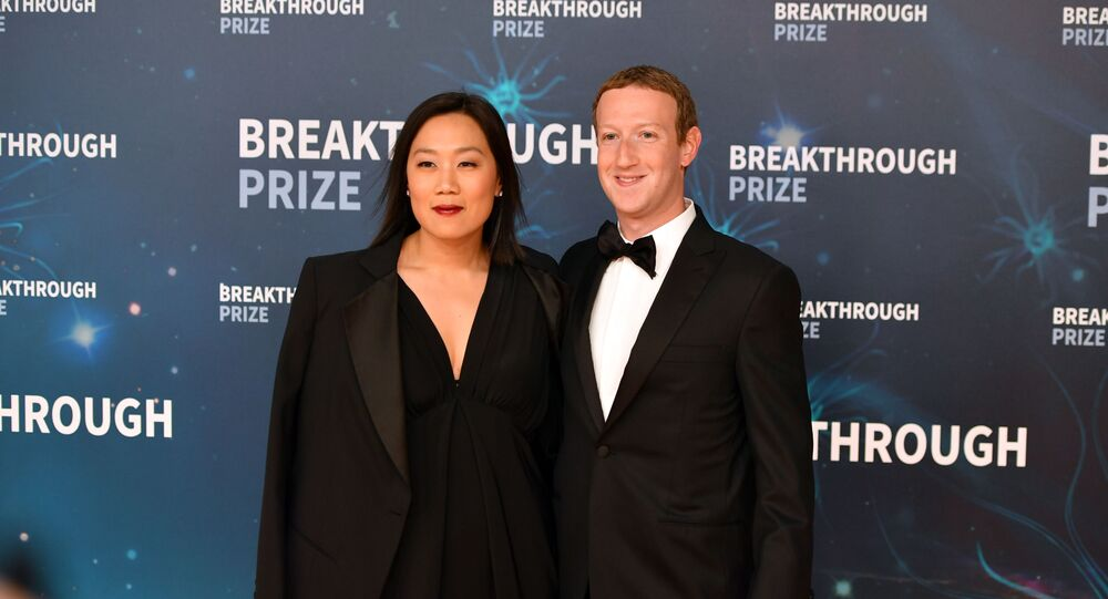 Facebook CEO Mark Zuckerberg and his wife Priscilla Chan arrive for the 8th annual Breakthrough Prize awards ceremony at NASA Ames Research Center in Mountain View, California on 3 November 2019