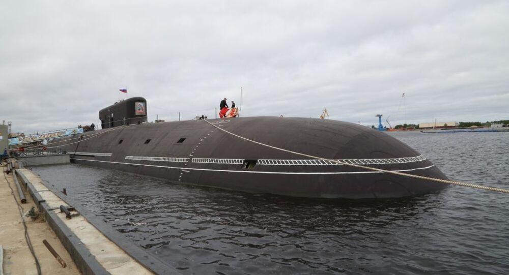 Navy flag lifted aboard the Knyaz Vladimir missile submarine, June 12, 2020.