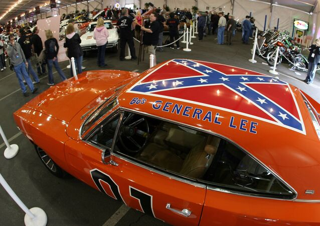 A 1969 Dodge Charger, dubbed The General Lee from the TV series The Dukes of Hazzard, is displayed during the 37th Annual Barrett-Jackson Collector Cars auction in Scottsdale, Arizona, 16 January 2008.