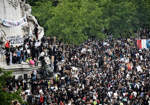 A view shows protesters attending a rally as part of the 'Black Lives Matter' worldwide protests against racism and police brutality, on Place de la Republique in Paris on June 13, 2020.