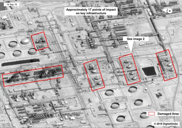 This image provided on Sunday, Sept. 15, 2019, by the U.S. government and DigitalGlobe and annotated by the source, shows damage to the infrastructure at Saudi Aramco's Abaqaiq oil processing facility in Buqyaq, Saudi Arabia. The drone attack Saturday on Saudi Arabia's Abqaiq plant and its Khurais oil field led to the interruption of an estimated 5.7 million barrels of the kingdom's crude oil production per day, equivalent to more than 5% of the world's daily supply.