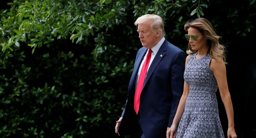 U.S. President Donald Trump departs with first lady Melania Trump for travel to the Kennedy Space Center in Florida from the South Lawn of the White House in Washington, U.S., May 27, 2020.