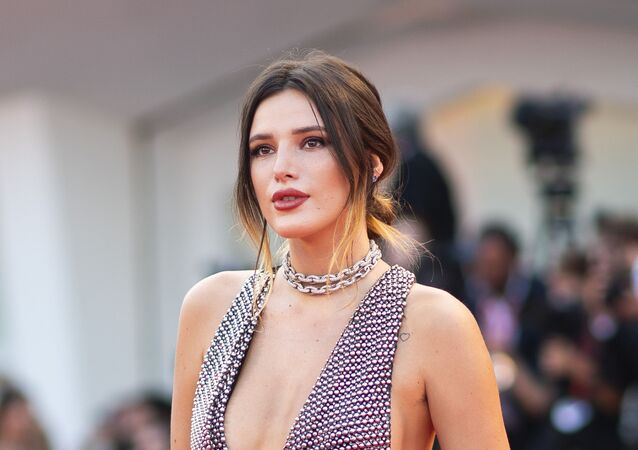 Actress Bella Thorne poses for photographers upon arrival at the premiere of the film 'Joker' at the 76th edition of the Venice Film Festival, Venice, Italy, 31 August 2019