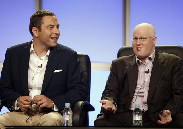 Actors, writers, and executive producers David Walliams, left, and Matt Lucas, from the upcoming HBO comedy series Little Britain USA,  speak during the Television Critics Association summer press tour in Beverly Hills, Calif. on Thursday, July 10, 2008.