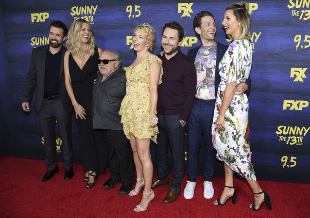 Rob McElhenney, from left, Kaitlin Olson, Danny DeVito, Mary Elizabeth Ellis, Charlie Day Glenn Howerton and Jill Latiano attend the LA Premiere of It's Always Sunny in Philadelphia Season 13 at the Regency Bruin Theatre on Tuesday, Sept. 4, 2018, in Los Angeles