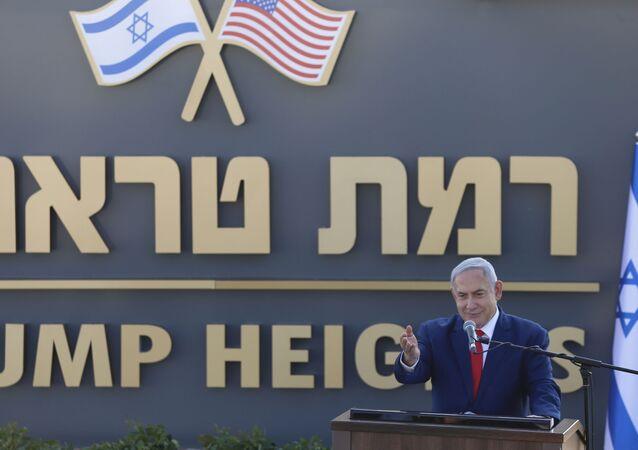 Israeli Prime Minister Benjamin Netanyahu speaks during the inauguration of a new settlement named after President Donald Trump in Golan Heights, 16 June 2019.
