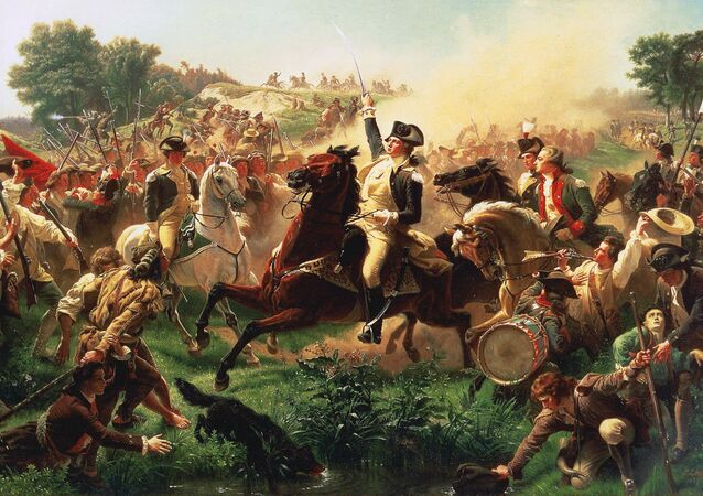 Painting titled Washington Rallying the Troops at Monmouth; depicts George Washington at the 1778 Battle of Monmouth.