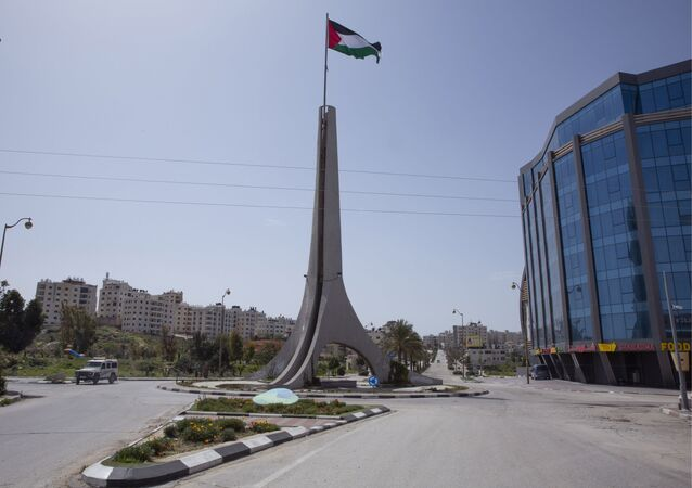 Deserted street in the West Bank city of Ramallah