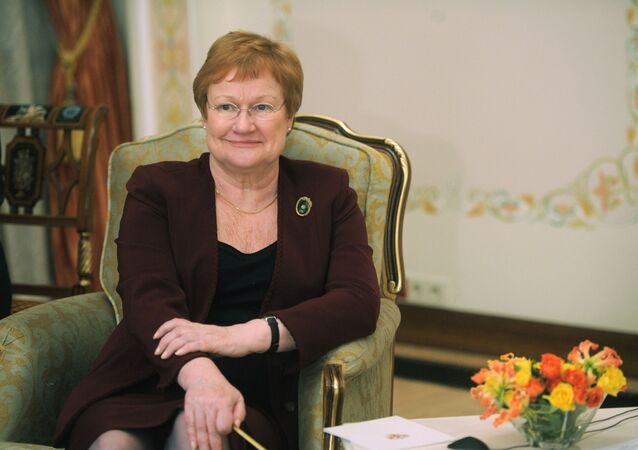 Finnish President Tarja Halonen meets with Russian Prime Minister Vladimir Putin, unseen in the photo, in the Novo-Ogaryovo residence outside Moscow, Tuesday, Jan. 17, 2012.