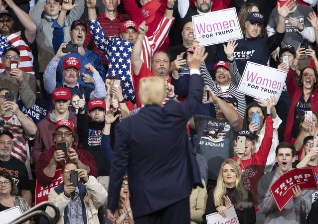 President Donald Trump waves at the audience as he leaves the stage during a campaign rally, Monday, Feb. 10, 2020, in Manchester, N.H.