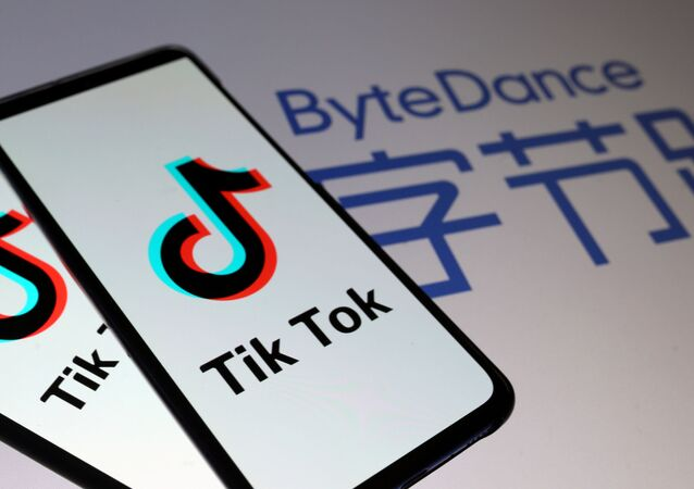 Tik Tok logos are seen on smartphones in front of a ByteDance logo displayed in this illustration, taken 27 November 2019