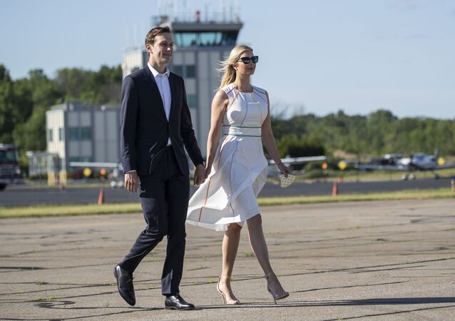 White House senior adviser Jared Kushner and his wife Ivanka Trump, the daughter and assistant to President Donald Trump, walk across the tarmac to board Air Force One at Morristown Municipal Airport, Sunday, June 14, 2020