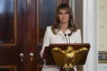 First lady Melania Trump speaks during the Governors' Spouses' luncheon in the Blue Room of the White House in Washington, Monday, Feb. 10, 2020
