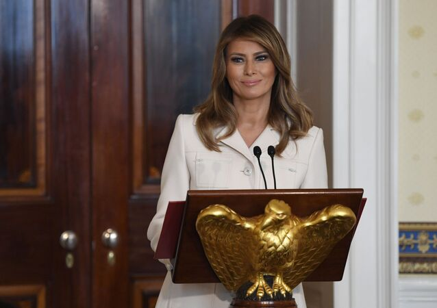 First lady Melania Trump speaks during the Governors' Spouses' luncheon in the Blue Room of the White House in Washington, Monday, 10 February 2020
