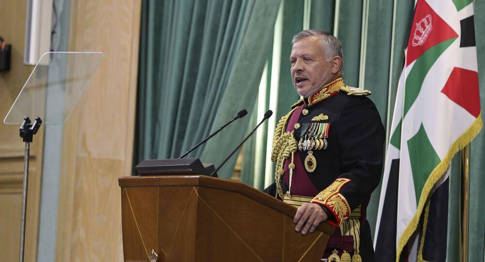 Jordan's King Abdullah II, speaks to Parliament in Amman, Jordan, Sunday, Nov. 10, 2019