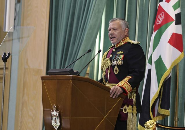 Jordan's King Abdullah II, speaks to Parliament in Amman, Jordan, Sunday, Nov. 10, 2019