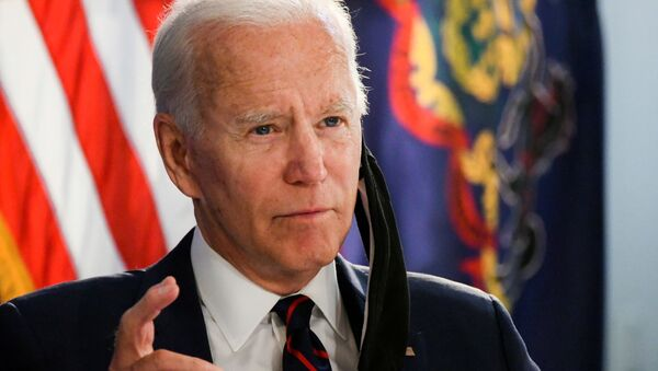Democratic U.S. presidential candidate and former Vice President Joe Biden speaks at a campaign event devoted to the reopening of the U.S. economy during the coronavirus disease (COVID-19) pandemic in Philadelphia, Pennsylvania, U.S., June 11, 2020 - Sputnik International