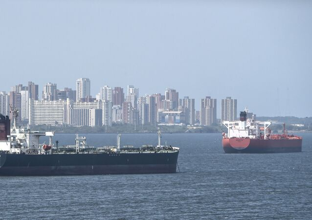 Oil tankers sail the Maracaibo Lake in Maracaibo, Venezuela on March 15 , 2019.