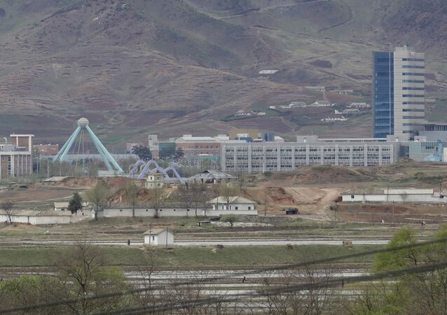 FILE - In this April 24, 2018, file photo, the Kaesong industrial complex in North Korea is seen from the Taesungdong freedom village inside the demilitarized zone during a press tour in Paju, South Korea