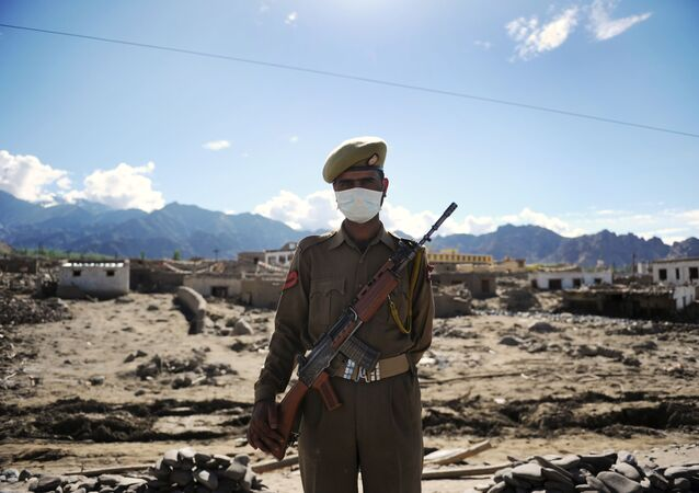 An Indian armed forces serviceman stands guard (File)