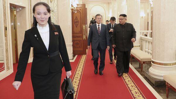 Sister of North Korean leader Kim Jong-un Kim Yo-jong  during a meeting between the leader of the DPRK and the President of South Korea in Pyongyang - Sputnik International